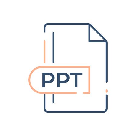 PPT File Format Icon. PPT extension line icon.