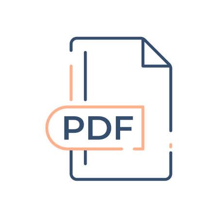 PDF File Format Icon. PDF extension line icon.