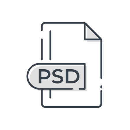 PSD File Format Icon. PSD extension line icon. 向量圖像