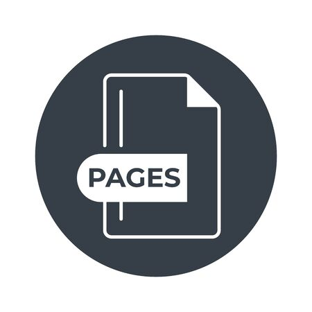 PAGES File Format Icon. PAGES extension filled icon. Foto de archivo - 150467436