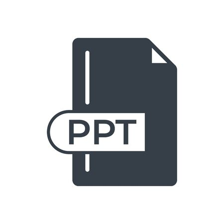 PPT File Format Icon. PPT extension filled icon. Vectores