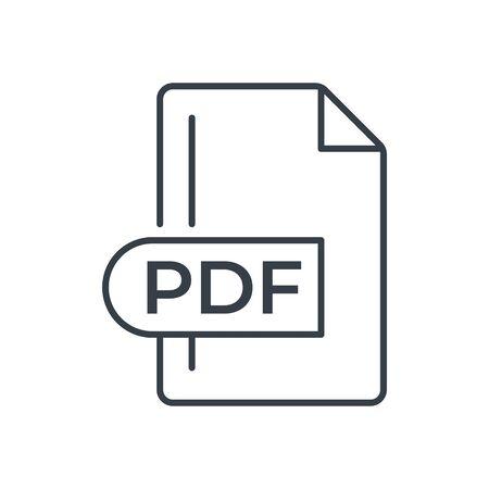 PDF File Format Icon. PDF extension line icon. Foto de archivo - 150467439