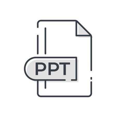 PPT File Format Icon. PPT extension line icon. Foto de archivo - 150467442
