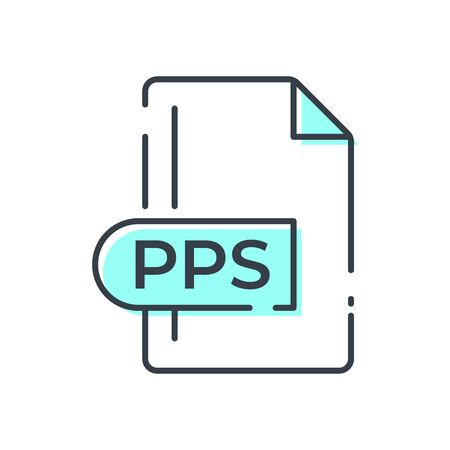 PPS File Format Icon. PPS extension line icon.