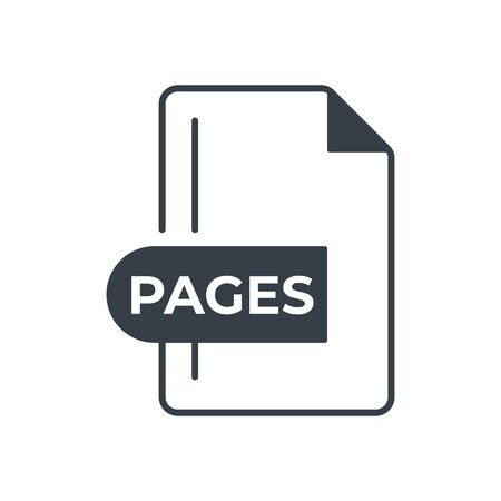 PAGES File Format Icon. PAGES extension filled icon. Foto de archivo - 150467448