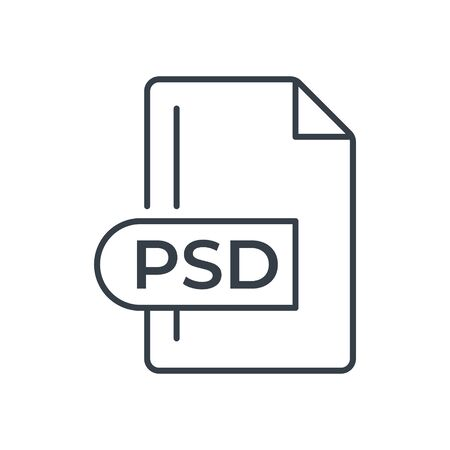 PSD File Format Icon. PSD extension line icon. Vectores