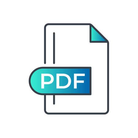 PDF File Format Icon. PDF extension gradiant icon.