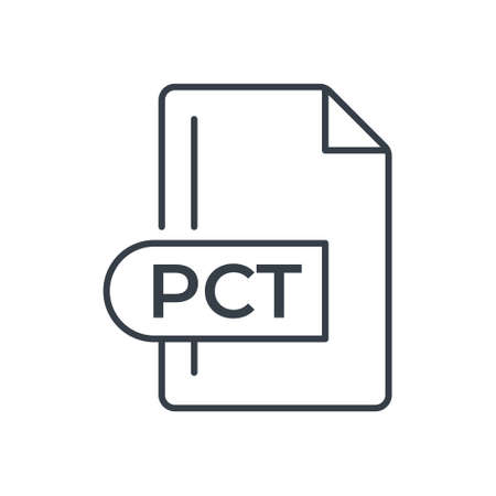 PCT File Format Icon. PCT extension line icon.