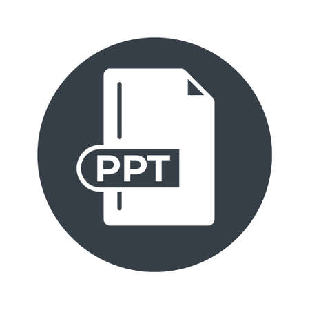 PPT File Format Icon. PPT extension filled icon. 向量圖像