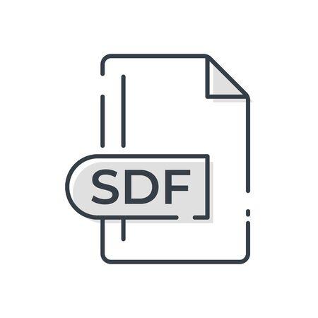 SDF File Format Icon. SDF extension line icon. Vectores