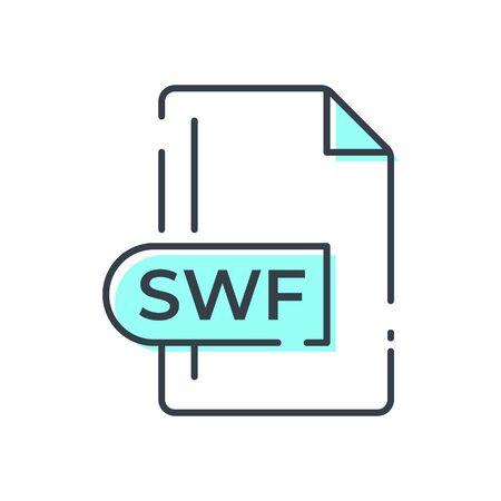 SWF File Format Icon. SWF extension line icon.