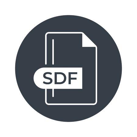 SDF File Format Icon. SDF extension filled icon. Foto de archivo - 150467597
