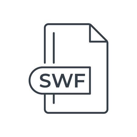 SWF File Format Icon. SWF extension line icon. Foto de archivo - 150467607