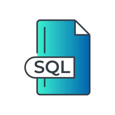 SQL File Format Icon. SQL extension gradiant icon.