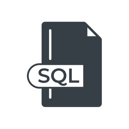 SQL File Format Icon. SQL extension filled icon. 向量圖像