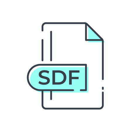 SDF File Format Icon. SDF extension line icon. 向量圖像