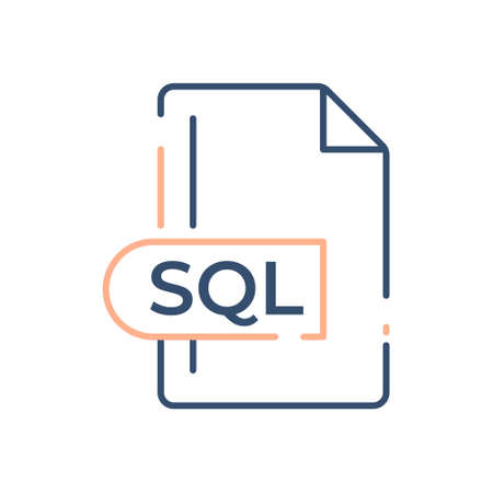 SQL File Format Icon. SQL extension line icon. 向量圖像