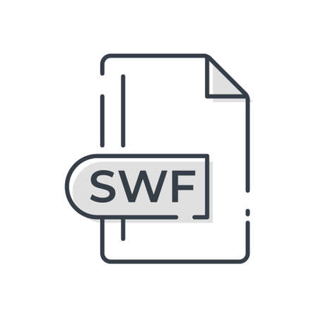 SWF File Format Icon. SWF extension line icon.