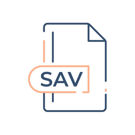 SAV File Format Icon. SAV extension line icon.