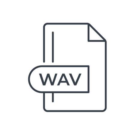 WAV File Format Icon. WAV extension line icon. Vectores