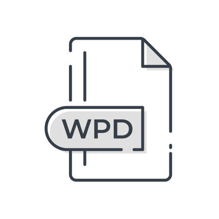 WPD File Format Icon. WPD extension line icon.