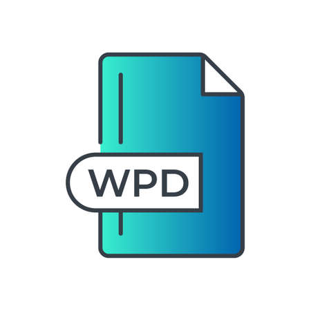 WPD File Format Icon. WPD extension gradiant icon. Vectores