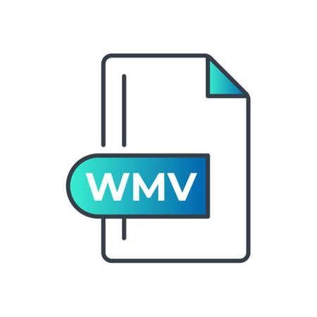WMV File Format Icon. WMV extension gradiant icon.