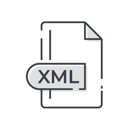 XML File Format Icon. XML extension line icon. Vectores