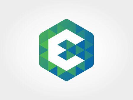 Hexagon Letter E Icon