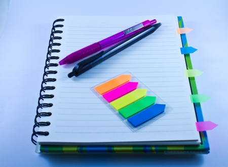 Pens Color index  Notebook  Stock Photo