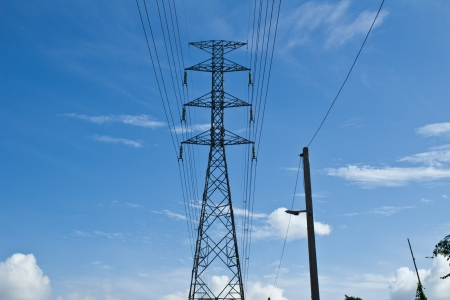 High voltage tower with the sky