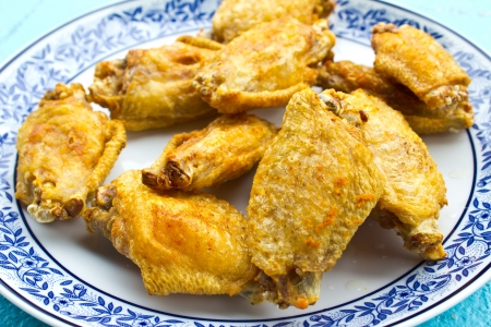 Fried chicken wings on dish