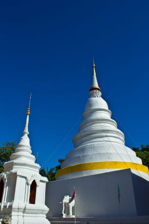 Two Chedi  s at Wat Phra Singh with blue sky