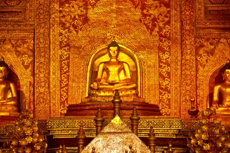 Close Up Buddha of the temple Wat Phra Singh in Chiang Mai
