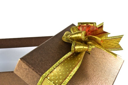 Gift brown box with bow on white background