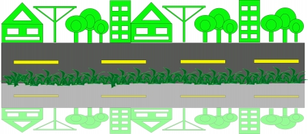 Green city with road