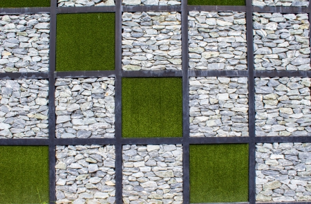 Artificial grass andStone in the form of chess