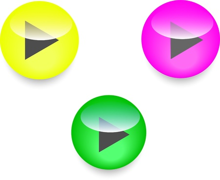 icons play yellow pink green color  set Vector