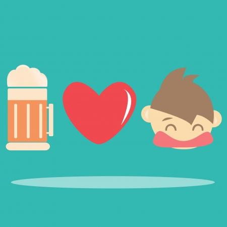 i love beer , Vector cartoons Illustration