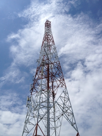 Communication tower and sky