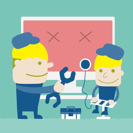 computer repairing: Technician are repairing Computer, Vector cartoon