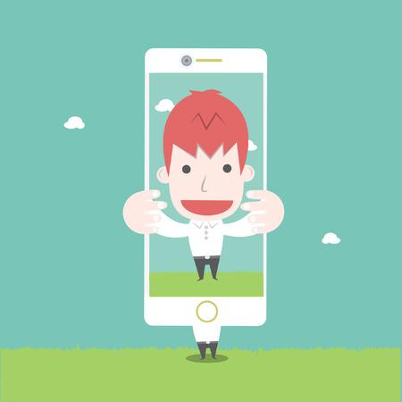 selfie: A man take photo by himself,Vector cartoon business