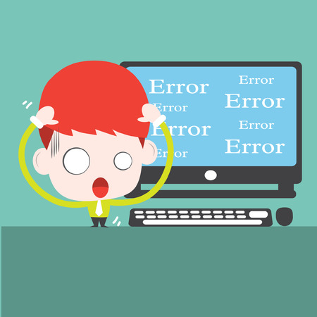 Computer is error,Vector cartoon business Vector