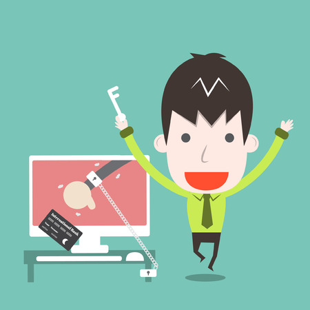 Catch a cyber thief,Vector cartoon business Vector