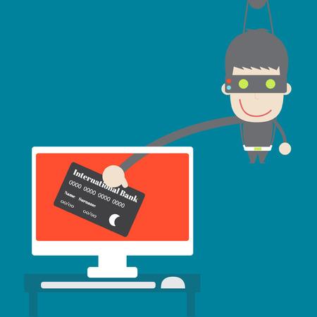 spyware: Datos de la tarjeta de cr�dito Ladr�n de escritorio, negocio Vector de dibujos animados