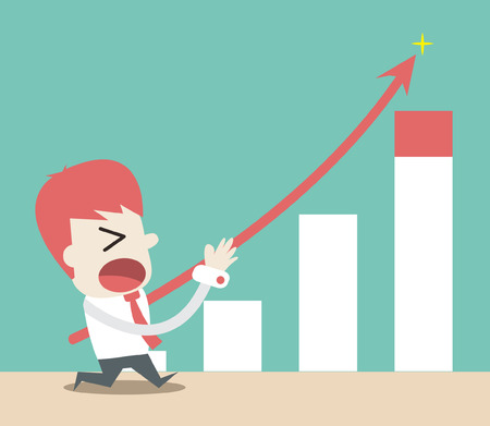 push up: Businessman push up the graph ,Vector cartoon business