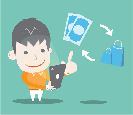e money: Shopping online,Vector cartoon business