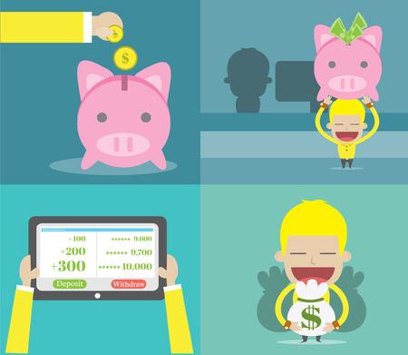 Money Deposit Process ,Vector cartoon business Process ,Vector cartoon business
