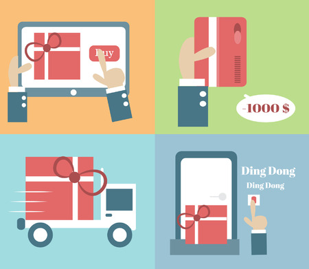 Online shopping process ,Vector cartoon business Illustration