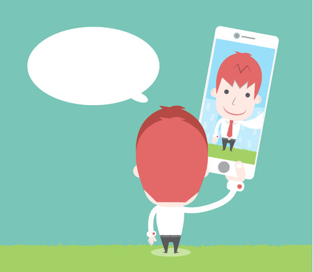 Businessman take selfie picture Vector